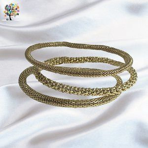 Set of 3 Mesh Chain Stretch Multilayer Bangles
